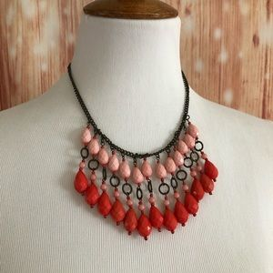 American Eagle Coral Beaded Boho Necklace